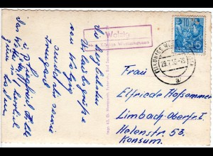 DDR 1955, Landpost Stpl. WOLZIG über Königs Wusterhausen auf Karte m. 10 Pf.