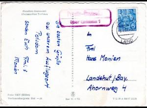 DDR 1957, Landpost Stpl. PRÖSITZ-GASTEWITZ über Grimma auf AK m. 10 Pf.