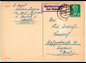 DDR 1956, Landpost Stpl. Bartenshagen über Rostock 2 auf 10 Pf. Ganzsache