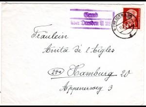 DDR 1956, Landpost Stpl. GRUND über Dresden A28 auf Brief m. 20 Pf.