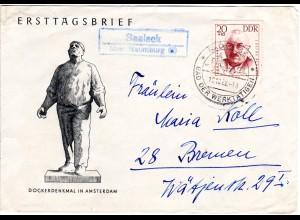 DDR 1962, Landpost Stpl. SAALECK über Naumburg auf Brief m. 20 Pf.