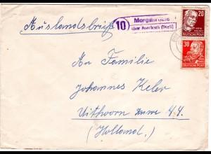 DDR 1951, Landpost Stpl. MORGENRÖTHE über Auerbach auf Auslandsbrief m. 20+30 Pf