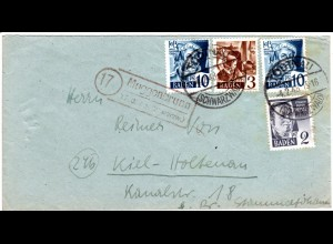 Baden 1948, Landpost Stpl. 17 MUGGENBRUNN üb. Todtnau auf Brief m. 2+3+2x10 Pf.