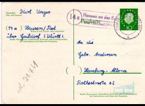BRD 1961, Landpost Stpl. 14a HAUSEN AN DER ROT über Gaildorf auf 10 Pf Ganzsache
