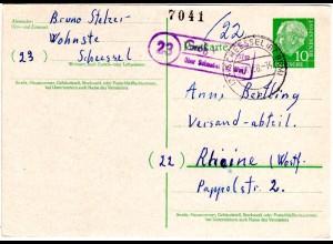 BRD 1958, Landpost Stpl. 23 GROSS WOHNSTE über Scheessel auf 10 Pf Ganzsache