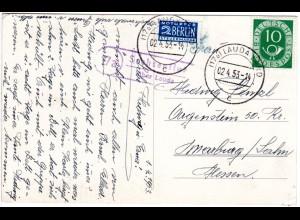 BRD 1953, Landpost Stpl. 17a SACHSENFLUR über Lauda auf Karte m. 10 Pf.