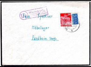 BRD 1951, Landpost Stpl. 13a WEINGARTS über Forchheim auf Brief m. 20 Pf.