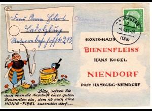 BRD 1957, Landpost Stpl. OBERWEIHERSBUCH über Nürnberg auf Karte m. 10 Pf.