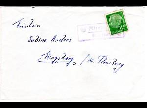 BRD, Landpost Stpl. RINGSBERG über Flensburg als Entwertung auf Brief m. 10 Pf.