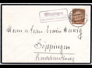 DR 1937, Landpost Stpl. WINZINGEN über Gmünd auf Trauer Brief m. 3 Pf.