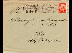 DR 1934, Landpost Stpl. HASSELDIEKSDAMM über Kiel auf Brief m. 8 Pf.