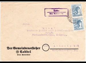 1947, Landpost Stpl. COBBEL über Tangerhütte auf Brief m. Paar 12 Pf.