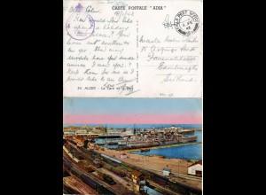 GB Algeria, FPO 159 auf zensierter AK Alger m. Bahnhof, Hafen, Kriegsschiffen