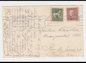 Schweden 1937, 5+15 öre auf Karte v. Stockholm n. Brasilien. Destination! #2429