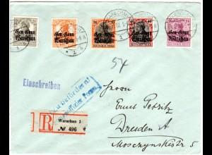 Polen 1918, 5 Marken auf Einschreiben Zensur Brief v. Warschau n. Dreden