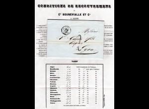 Algerien 1849, K2 ALGER auf Porto Brief m. gedrucktem Inhalt n. Lyon