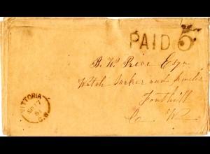 Kanada 1861, VITTORIA C.W. u. PAID 5 auf Brief m. diversen Stempeln rückseitig