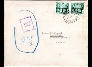 Spanien 1954, MeF Paar 5 P. Eisenbahn auf Einschreiben Brief n. Österreich