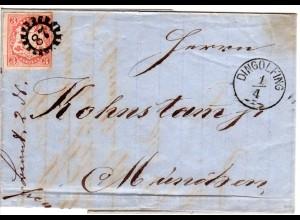 Bayern 1868, MR 87 u. Zier-K1 Dingolfing auf Brief m. rechts berührter 3 Kr.