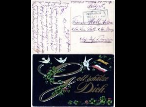 Bayern 1916, Posthilfstelle WALCHSING Taxe Aldersbach auf Feldpost Karte