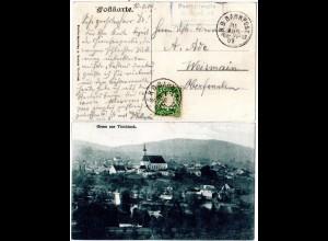 Bayern 1909, Posthilfstelle GUMPENRIED Taxe Teisnach auf Viechtach-AK m.Bahnpost