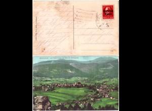 Bayern 1919, Posthilfstelle GUMPENRIED Taxe Teisnach auf Bodenmais-AK m.Bahnpost