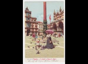 Venedig, Venezia, ungebr. Farb AK m. Tauben. I colombi. #2408