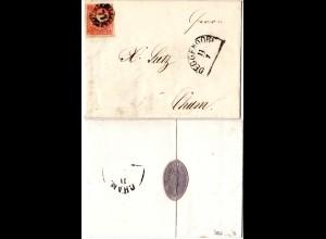 Bayern 1867, MR 77 DEGGENDORF auf Firmenbrief m. breitr. 3 Kr.