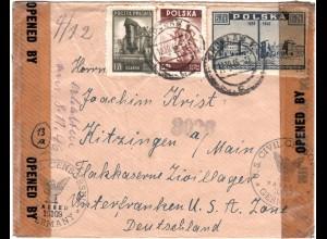 Polen 1946, Zensur Brief v. Wroclaw ins Flakkaserne Zivilarbeitslager Kissingen