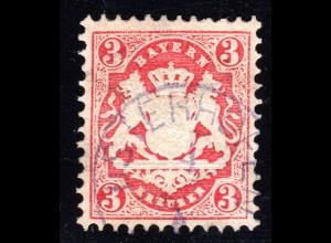 Bayern, 3 Kr. rot m. violettem Zierstempel OSTERHOFEN. Geprüft