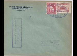 Bolivien 1929, Oruro-La Paz Erstflug Brief m. Ankunftstempel. #200