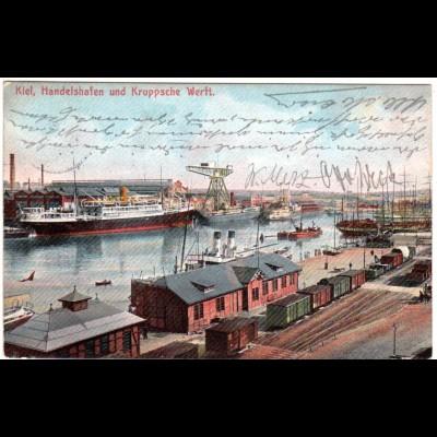 Kiel, Handelshafen u. Kruppsche Werft m. Eisenbahn, 1907 gebr. Farb-AK