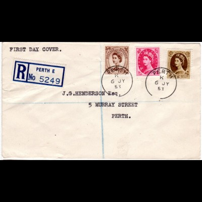 GB 6.7.1953, FDC cpl. with 5+8d u. 1 Sh. Registered cover from Perth E