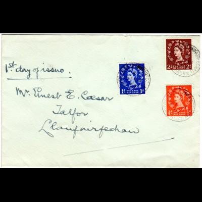 GB 31.8.1953, FDC cpl. with 1/2, 1+2d. Shore Road Lanfairfechan