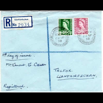 GB Scotland 29.9.1958, registered FDC with 6d + 1`3 Sh.