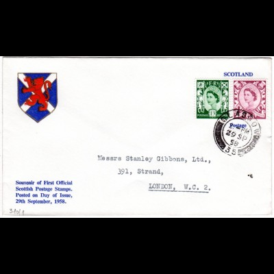 GB Scotland 29.9.1958, official FDC with 6d + 1`3 Sh.