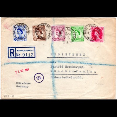GB 1954, 5 Oueen Elizabeth stamps on regd. cover from BARNOLDSWICK to Germany