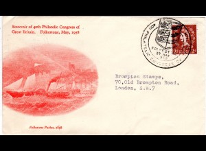 GB 1958, souvenir cover of Folkestone 40th Philatelic Congress of GB