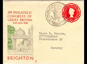 GB 1956, souvenir stationery cover of Brighton 38th Philatelic Congress of GB
