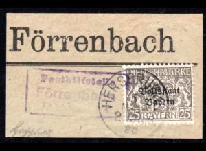 Bayern 1920, Posthilfstelle FÖRRENBACH Taxe Happurg auf Briefstück m Dienstmarke