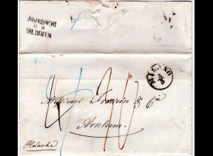 Lombardei & Venetien 1857, Porto Brief v. MILANO via Preussen n. Arnhem Holland