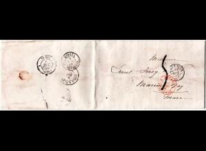 "Spanien 1859, Brief v. VALENCIA n. Frankreich m. Portostempel ""5"""