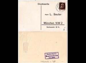 Bayern 1913, Posthilfstelle KAUBENHEIM Taxe Ipsheim auf Sauter Privatganzsache