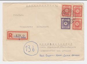 SBZ 1946, Freiberg Sachsen, Einschreiben Brief m. eingest. Not Reko-Zettel #2443