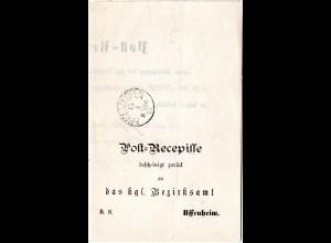 Bayern 1892, Post-Recepisse m. K1 ERMETZHOFEN n. Uffenheim