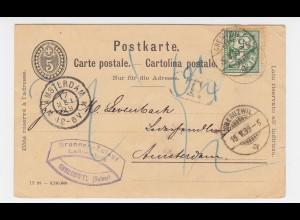 Schweiz 1899, 5 C. Zusatz auf 5 C. Ganzsache Karte v. Oberuzwil nach NL. #2470