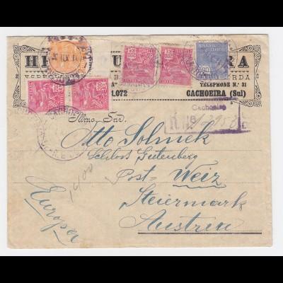 Brasilien 1932, Einschreiben Brief m. 6 Marken v. CACHOEIRA n. Österreich. #2456