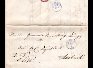 Bayern 1873, violetter Zierstempel COLMBERG klar auf Brief v. Bieg n. Ansbach.