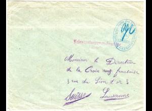 Bayern, KGF POW Brief n. Lausanne, Schweiz m. Lager Zensur v. Landshut