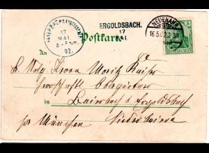 Bayern 1902, Aushilfstempel. ERGOLDSBACH als Ank.Stpl. auf Wiesbaden-AK